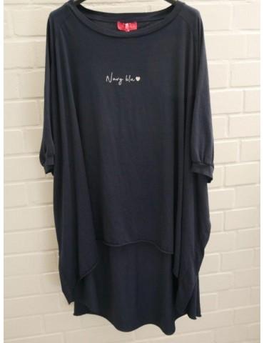 """XXXL Big Size T- Shirt kurzarm dunkelblau weiß """"Navy Blue"""" Baumwolle Onesize 38 - 50"""
