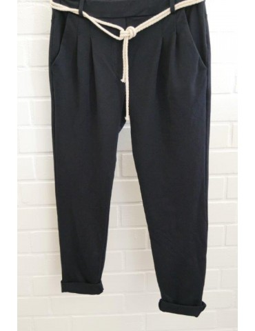 Edle Damen Bundfalten Hose JoggPants dunkelblau marine mit Baumwolle Gr. M 36 38