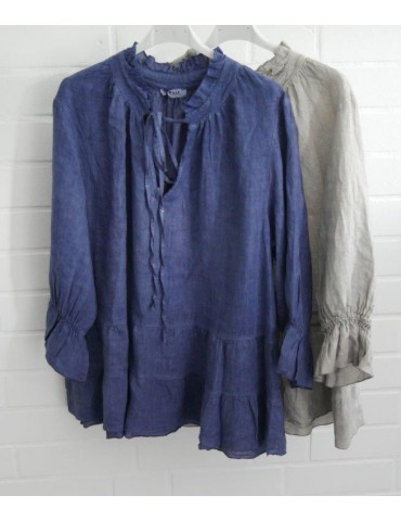 Xuna Damen Bluse Shirt 100% Leinen jeansblau...