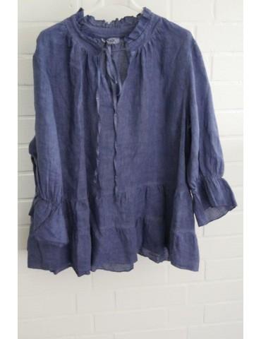 Xuna Damen Bluse Shirt 100% Leinen jeansblau blau verwaschen Trompetenärmel Onesize 38 - 42