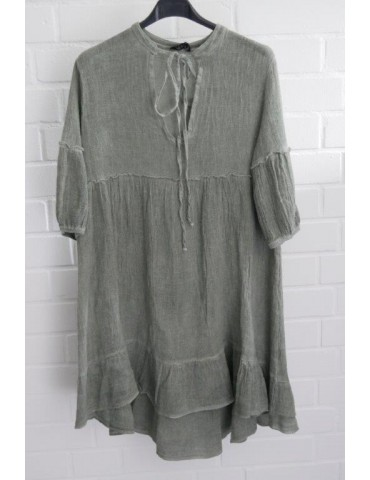 Xuna Damen Tunika Kleid Baumwolle Leinen oliv khaki Onesize 36 - 40