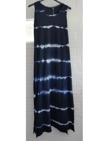Ärmelloses Damen Maxi Kleid dunkelblau weiß Batik Baumwolle Onesize 38 - 42
