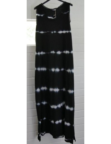 Ärmelloses Damen Maxi Kleid schwarz weiß Batik Baumwolle Onesize 38 - 42