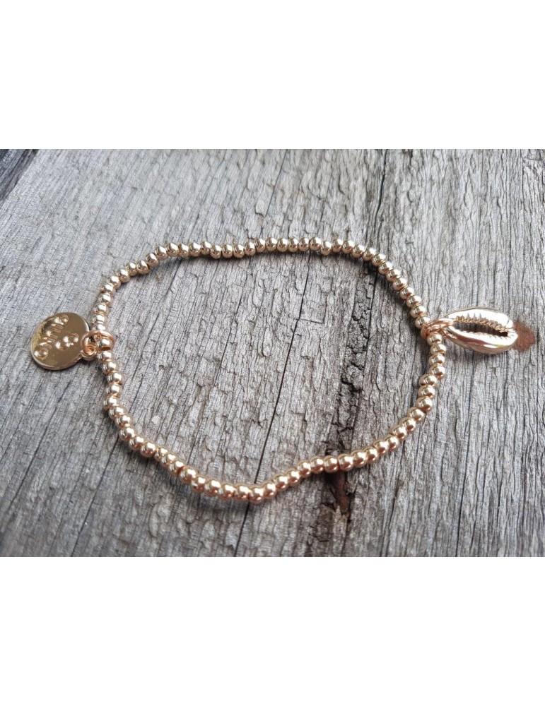 Armband Metallarmband Perlen klein rose gold Bohne Glanz elastisch