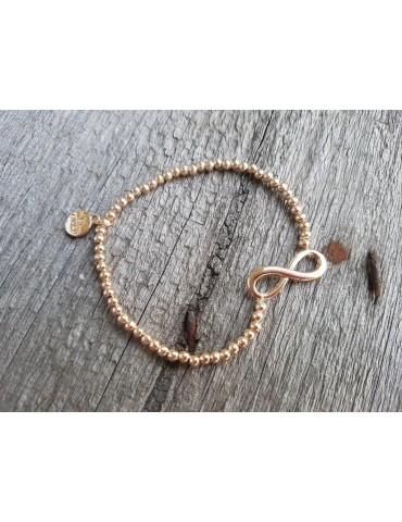 Armband Metallarmband Perlen klein rose gold Schleife Glanz elastisch