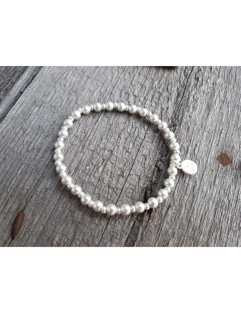 Armband Metallarmband Perlen klein silber matt Kugeln elastisch