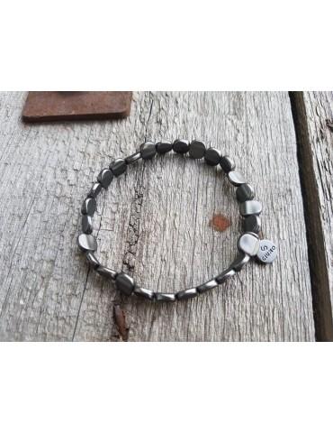 Armband Metallarmband Perlen klein anthrazit matt Plättchen elastisch