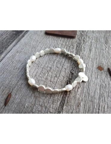 Armband Metallarmband Perlen klein silber matt elastisch