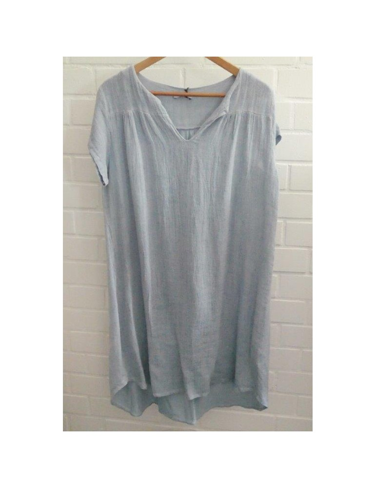 Damen Tunika Kleid Baumwolle Leinen jeansblau blau Onesize 38 - 42