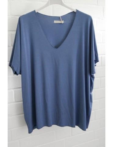 Damen Basic Shirt kurzarm jeansblau blau uni mit Viskose Onesize ca. 38 - 46