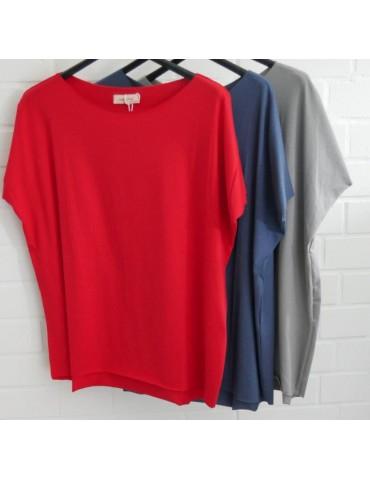 Damen Shirt kurzarm grau grey mit Baumwolle...