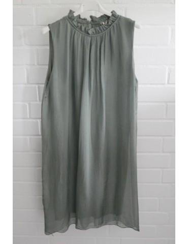 ESViViD Damen Kleid Tunika Seide lindgrün hell oliv Rüschen Hals Onesize ca. 36 - 42