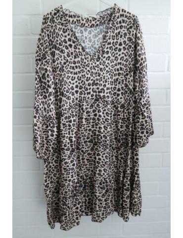 Damen Tunika Kleid A-Form creme beige schwarz Leo Rüschen Ausschnitt Onesize ca. 38 - 44