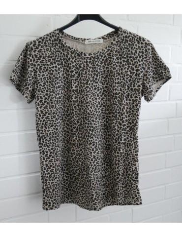 Damen Shirt kurzarm Rundhals creme beige schwarz Leo mit Baumwolle Onesize 36 - 40