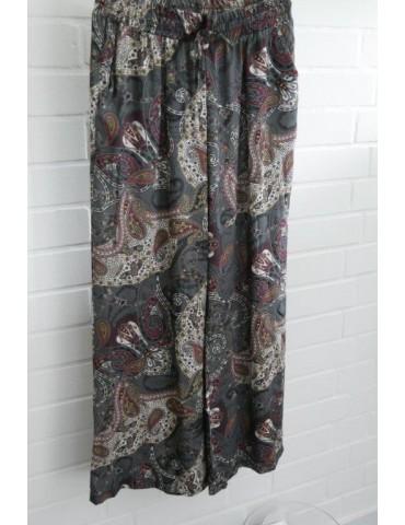 Leichte Damen Hose grau weinrot schwarz bunt Paisly Onesize 38 - 42 extra lang