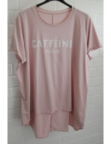 "Oversize Damen Shirt kurzarm rose rosa weiß ""Cafeine please"" Baumwolle Onesize 40 - 48"