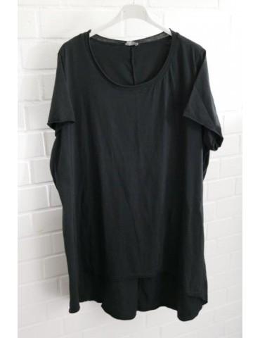 Oversize Damen Shirt kurzarm schwarz black Baumwolle Onesize 40 - 48