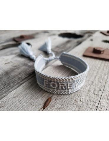 "Web Armband mit Trotteln hellgrau weiß ""Forever"" verstellbar"