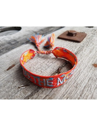 "Web Armband mit Trotteln orange blau bunt ""To the Moon"" verstellbar"