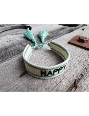"Web Armband mit Trotteln creme bleu grün schwarz ""Happy"" verstellbar"