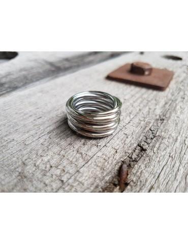 Giuno Edelstahl Ring Damenring silber silver glänzend breit