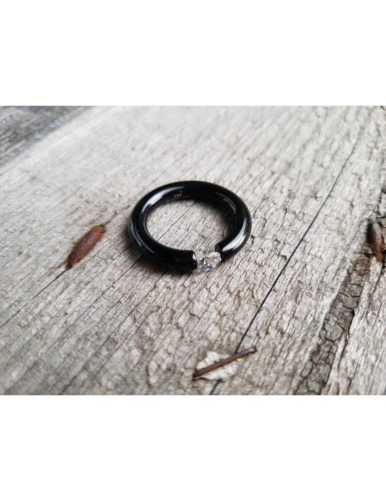 Giuno Edelstahl Ring Damenring schwarz black glänzend Stein schmal
