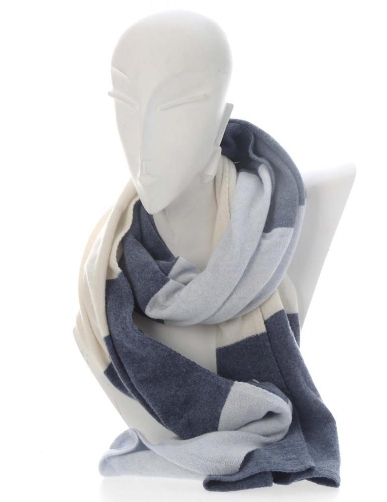 Zwillingsherz Schal Stola Clea hellblau blau bleu creme Streifen mit Kaschmir