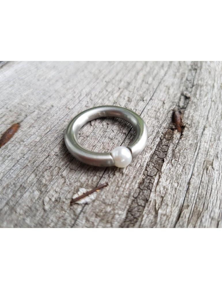 Giuno Edelstahl Ring Damenring silber silver matt Perle schmal