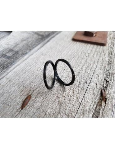 Giuno Edelstahl Ring Damenring schwarz black glänzend schmal