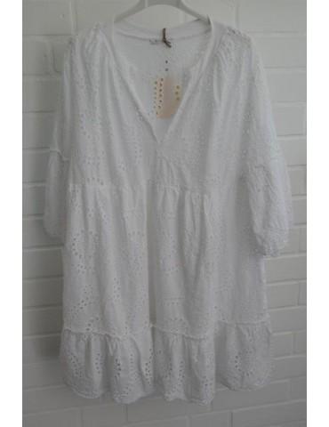 Damen Tunika Kleid A-Form weiß white Lochmuster Onesize ca. 38 - 42 Baumwolle