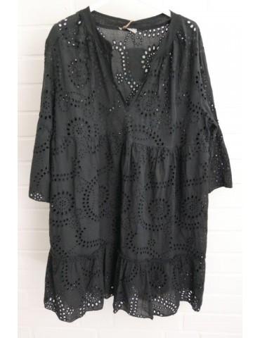 Damen Tunika Kleid A-Form schwarz black Lochmuster Onesize ca. 38 - 42 Baumwolle