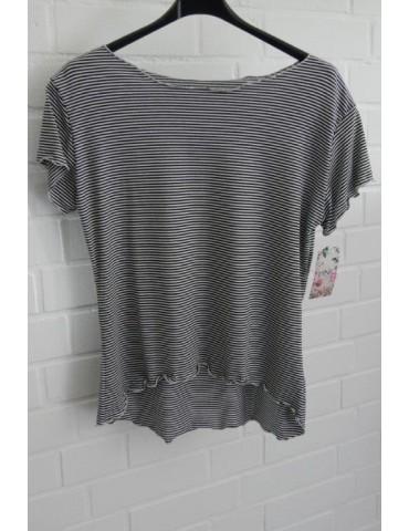 Damen Shirt kurzarm schwarz weiß Streifen mit Viskose Wellen Stern Onesize 36 38