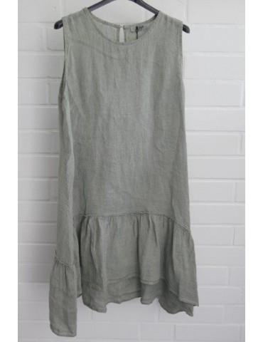 Xuna Damen Tunika Kleid Leinen oliv khaki Onesize 38 - 44