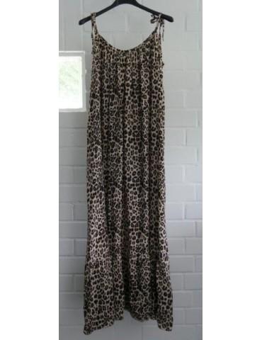 Damen Träger Maxi Kleid A-Form creme beige schwarz Leo Viskose Onesize ca. 36 - 42