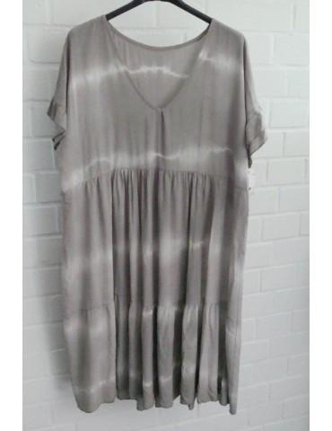 Damen Kleid beige creme Batik Viskose Onesize 38 - 42