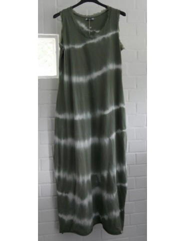 Ärmelloses Damen Maxi Kleid khaki oliv grün weiß Batik Baumwolle Onesize 38 - 42