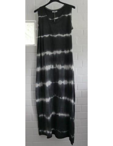 Ärmelloses Damen Maxi Kleid anthrazit grau weiß Batik Baumwolle Onesize 38 - 42