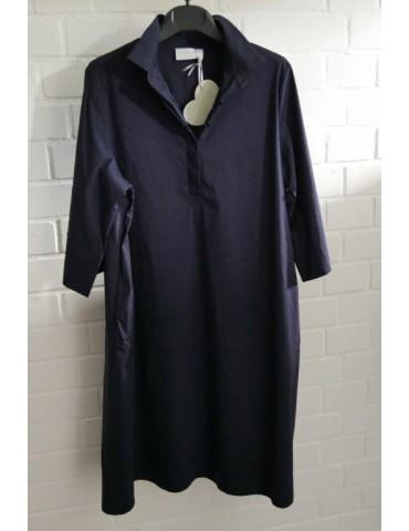 ESViViD Damen Tunika Bluse Kleid dunkelblau marine mit Baumwolle