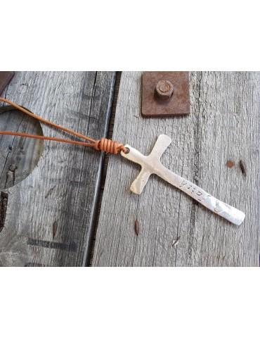Modeschmuck Kette Halskette lang cognac silber Kreuz Leder Metall