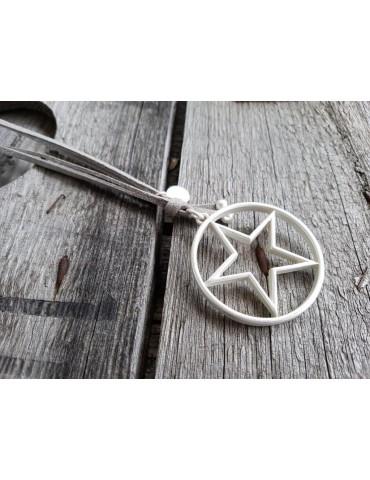 Giuno Modeschmuck Kette Halskette lang grau silber Stern Metall Textil