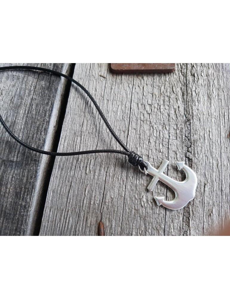Modeschmuck Kette Halskette lang schwarz black silber Anker
