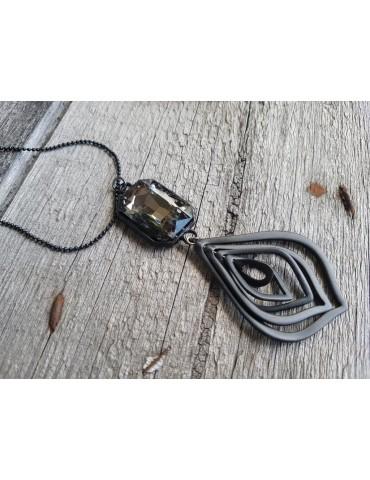 Bijoux Modeschmuck Kette Halskette lang schwarz black Anhänger Stein Metall