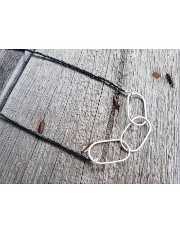 Giuno Modeschmuck Kette Halskette Damen kurz grau silber farben Perlen