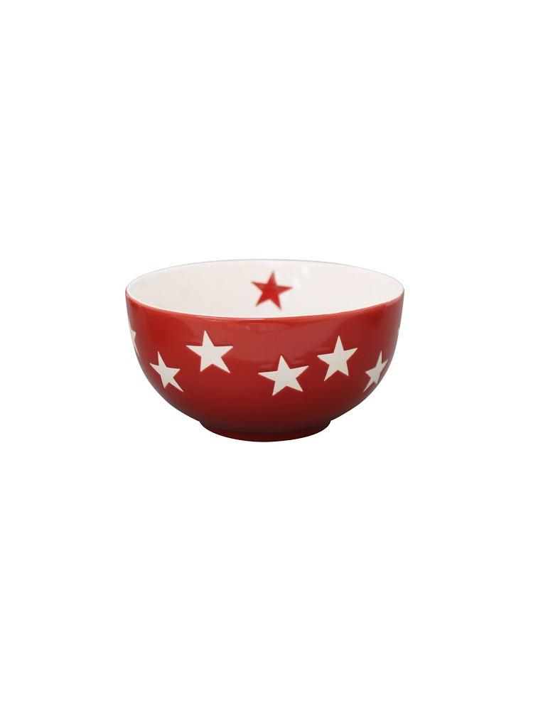 Krasilnikoff Keramik Müslischale Schale Bowl Schüssel rot weiß Sterne