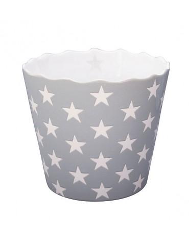 Krasilnikoff Keramik Topf Übertopf Chips hellgrau weiß Sterne Shabby 5622
