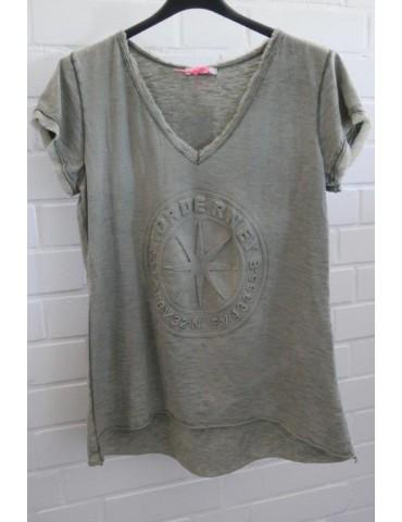 """3D Damen Shirt kurzarm oliv verwaschen uni """"Norderney"""" mit Baumwolle Onesize 38 - 42"""