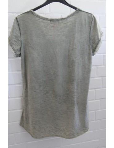 3D Damen Shirt kurzarm oliv verwaschen uni...