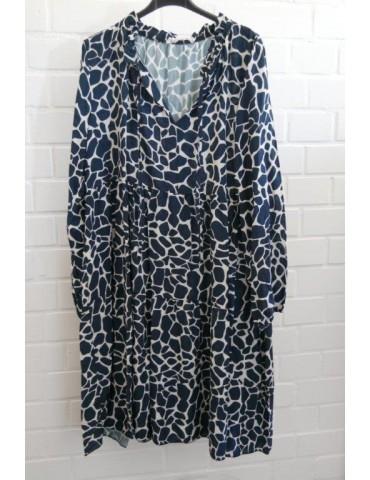 Damen Tunika Kleid A-Form dunkelblau creme Giraffe Onesize ca. 36 - 42 Made in Italy