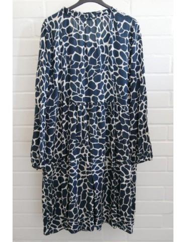 Damen Tunika Kleid A-Form dunkelblau creme...