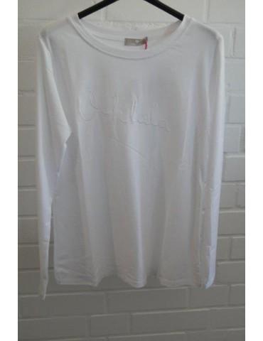 "Damen Statement Shirt langarm weiß white ""Oohlala"" uni mit Baumwolle Onesize 38 - 42"